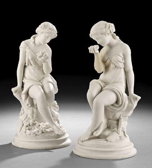 1869: Pair of English Parian Porcelain Female Figures