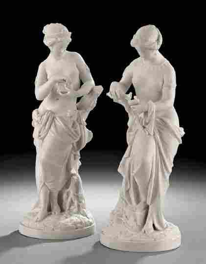 1870: Pair of English Parian Porcelain Female Figures