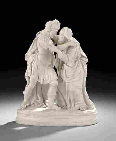 """1890: Parian Porcelain """"Peter and Cornelius"""" Figure"""