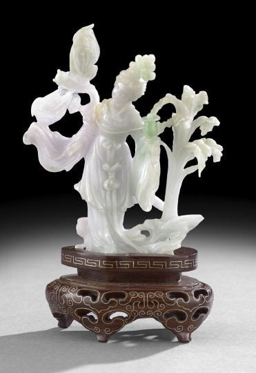 9: Fine Chinese Carved Jade Figure of a Maiden