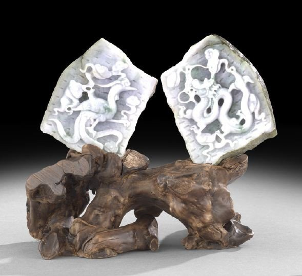 18: Pair of Chinese Jade Plaques in a Burl Root Stand