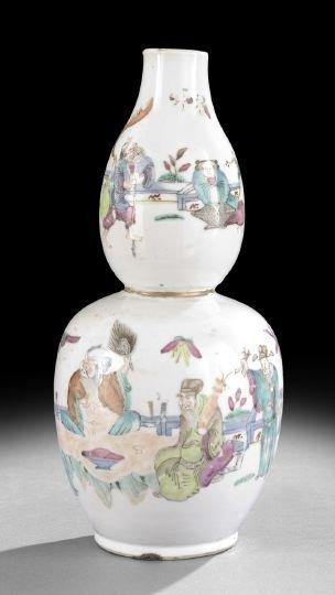 217: Chinese Famille Rose Porcelain Double Gourd Vase