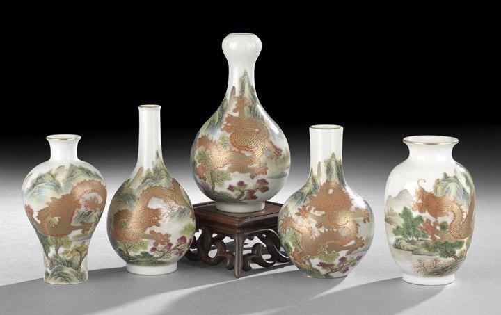 220: Five Chinese Polychrome Glazed Porcelain Vases