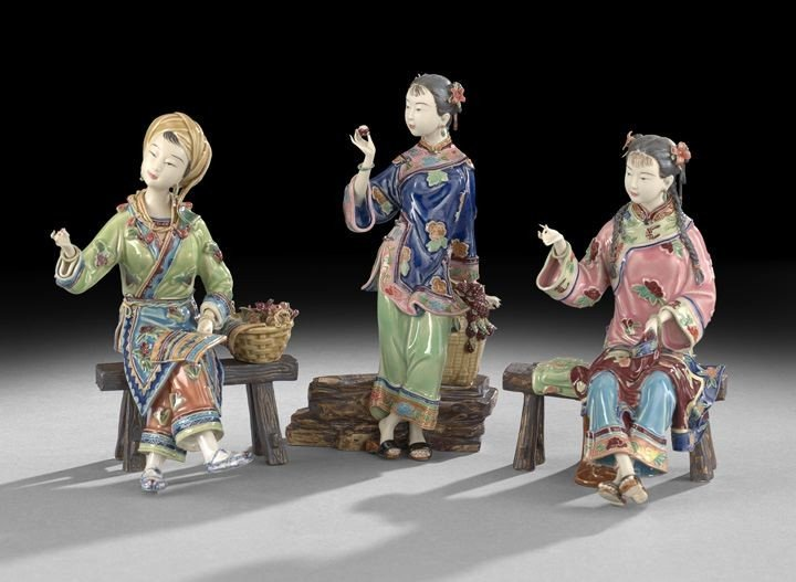 221: Three Chinese Pottery Figures of Females