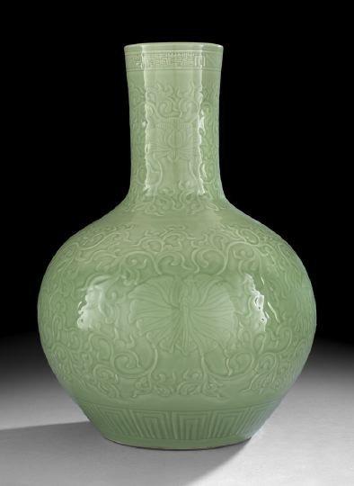 222: Large Chinese Molded Porcelain Bottle Vase