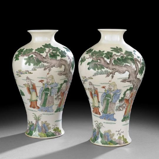 223: Pair of Chinese Famille Verte Meibing Vases