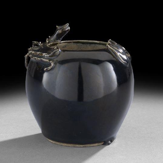 226: Chinese Black Glazed Molded Porcelain Vase