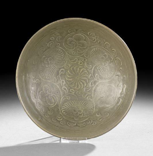 228: Chinese Molded Celadon Glazed Bowl