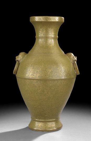229: Chinese Teadust Glazed Baluster Vase