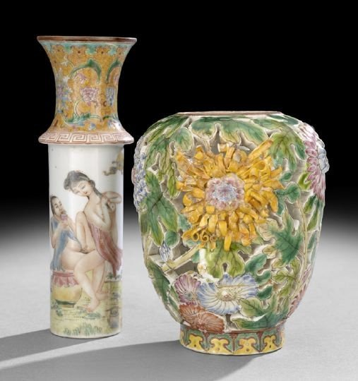 231: Chinese Famille Rose Reticulated Erotic Vase