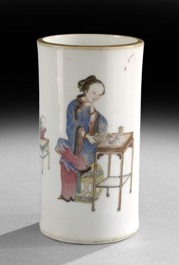 235: Small Chinese Famille Rose Porcelain Brush Pot