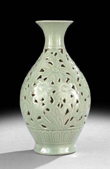 239: Chinese Reticulated Celadon Glazed Porcelain Vase