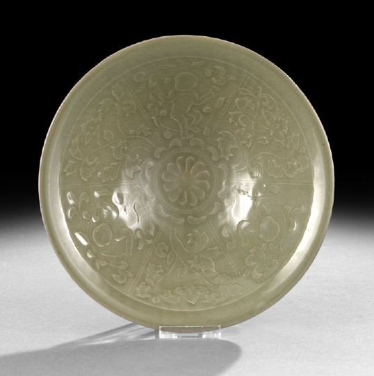 240: Chinese Molded Celadon Glazed Bowl