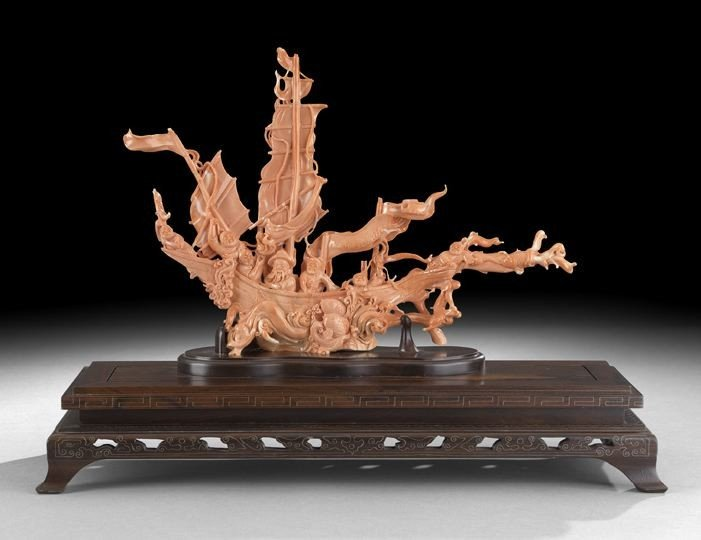 470: Fine, Large Chinese Carved Coral Model of a Boat