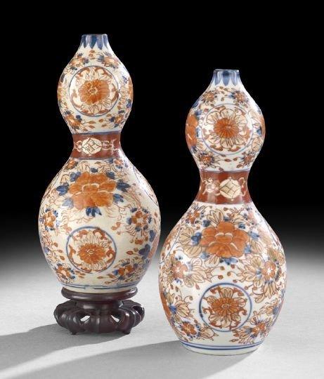523: Pair of Japanese Imari Double Gourd Vases