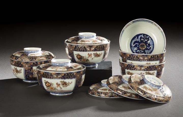 527: Set of Six Japanese Porcelain Covered Rice Bowls