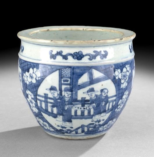 539: Chinese Small Blue-and-White Cache Pot