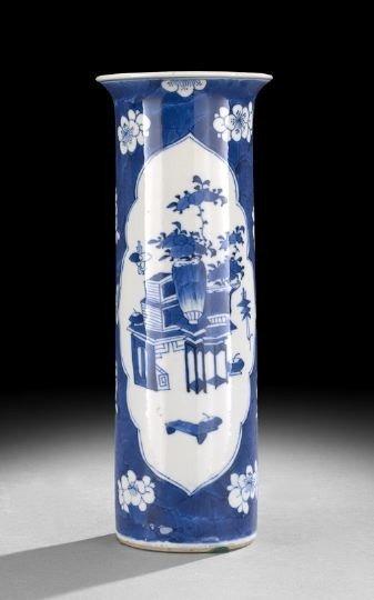541: Chinese Blue & White Porcelain Tubular Vase