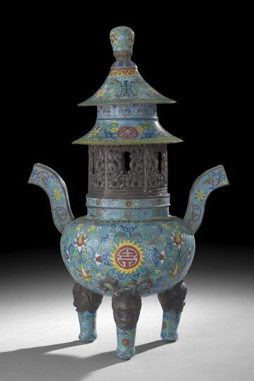 1044: Chinese Cloisonne Turquoise Ground Censer