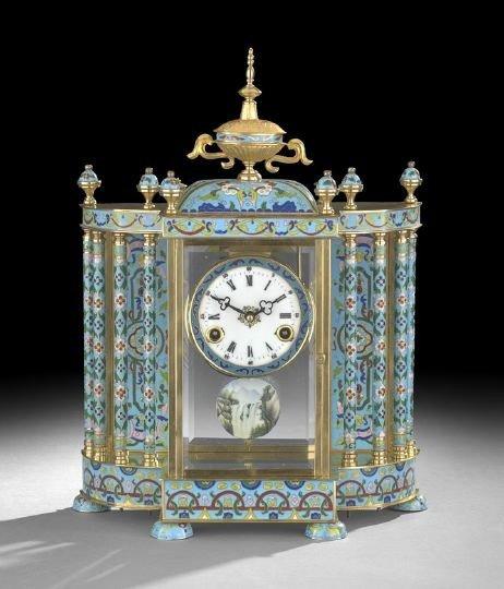 1045: Napoleon III-Style Cloisonne Enamel Clock