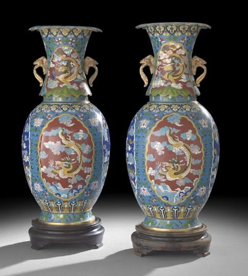 1046: Large Pair of Chinese Cloisonne Baluster Vases