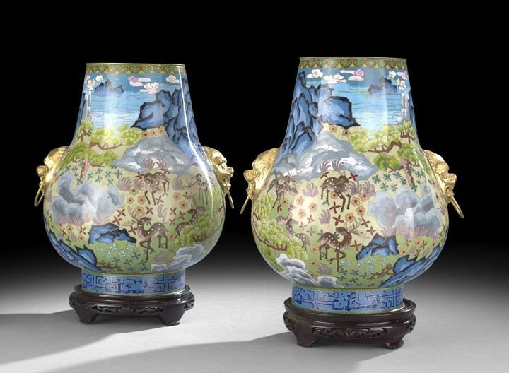 1049: Pair of Chinese Cloisonne Vases