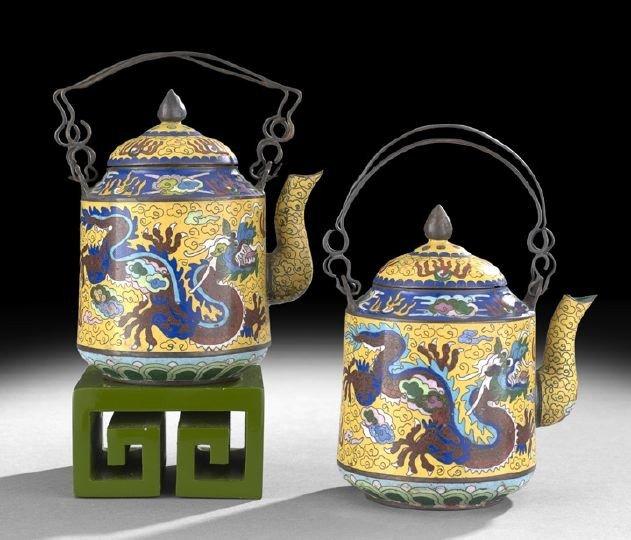 1054: Near Pair of Chinese Cloisonne Tea Kettles