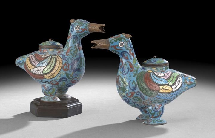 1055: Pair of Chinese Cloisonne Boxes