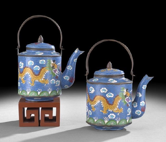 1056: Pair of Chinese Cloisonne Tea Kettles