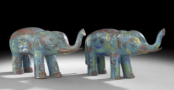 1057: Pair of Chinese Cloisonne Elephants