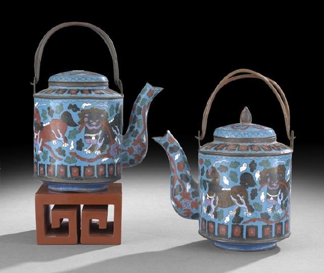 1058: Pair of Chinese Cloisonne Blue Ground Tea Kettles