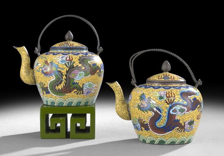 1059: Pair of Chinese Cloisonne Tea Kettles