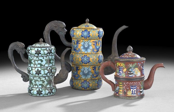 1060: Group of Three Chinese Cloisonne Teapots