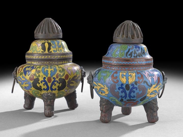 1061: Two Chinese Cloisonne Censers