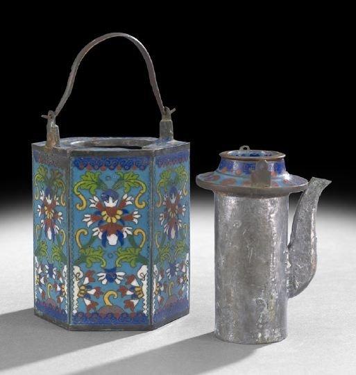1062: Chinese Cloisonne Hexagonal Wine Pot