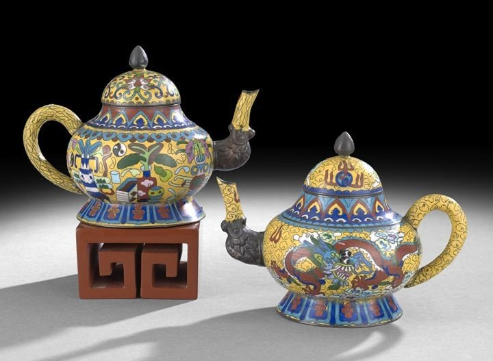 1063: Pair of Chinese Cloisonne Teapots