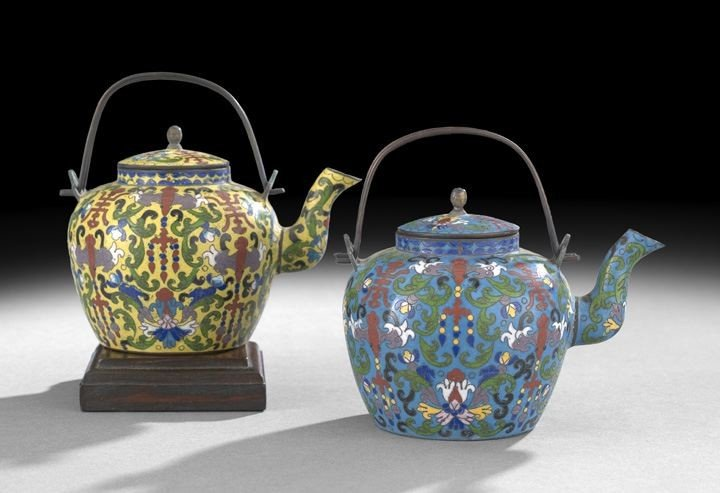 1065: Two Chinese Cloisonne Tea Kettles