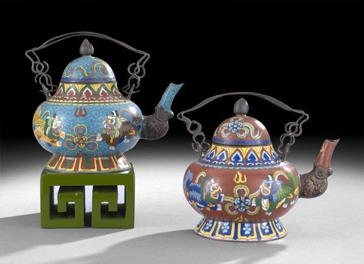 1066: Two Chinese Cloisonne Tea Kettles