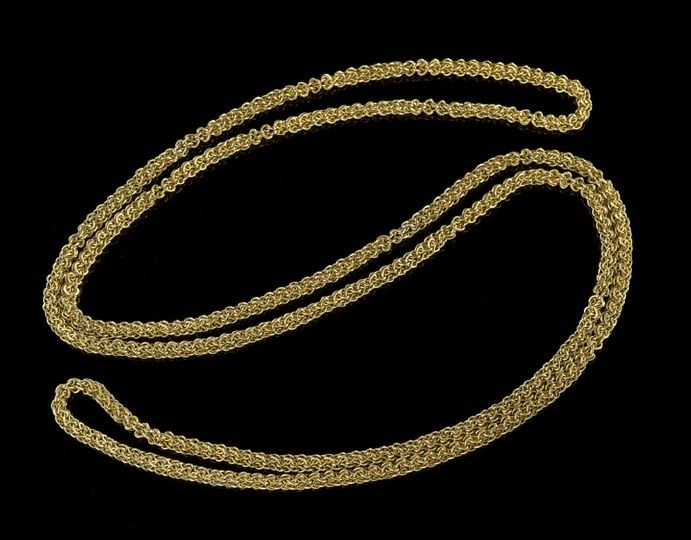 1598: Antique American 10 Kt. Gold Long Chain