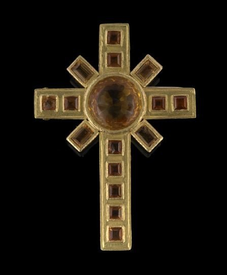 1615: Elizabeth Locke 18 Kt and Citrine Cross Brooch