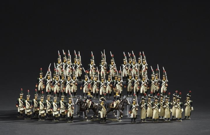 1702: 55 French Napoleonic Light Infantry Toy Soldiers
