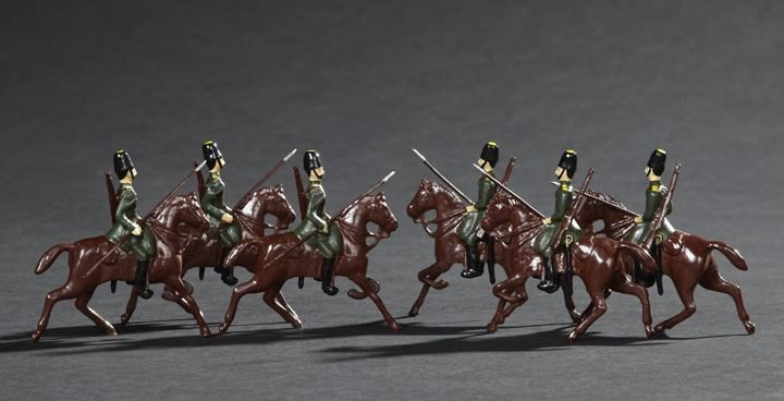 1704: 6 Russian Cossacs Vintage Lead Toy Figures