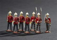 1718 7 British Infantry Marching Vintage Toy Soldiers