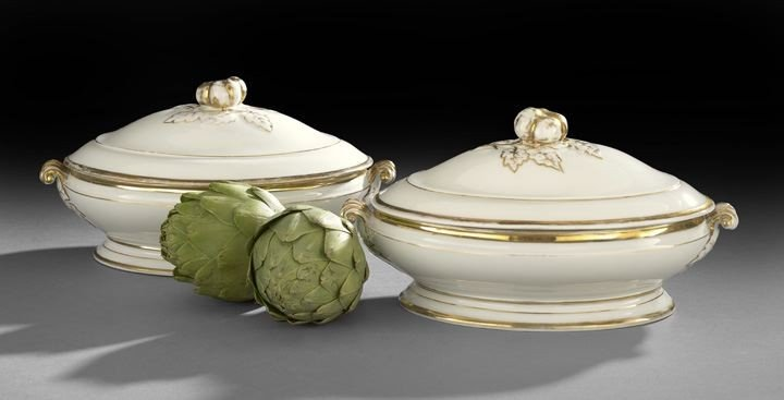 7: Pair of French Gold and White Covered Dishes