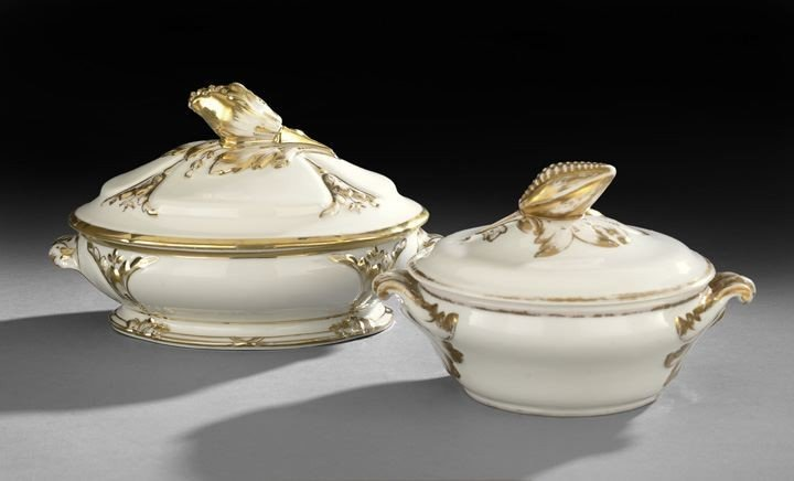 9: Two Gold and White French Covered Dishes