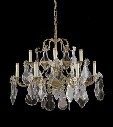 12: Louis XV-Style Nine-Light Gilt-Bronze Chandelier
