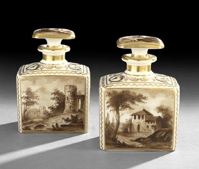 18: Pair of Paris Porcelain Style Scent Bottles