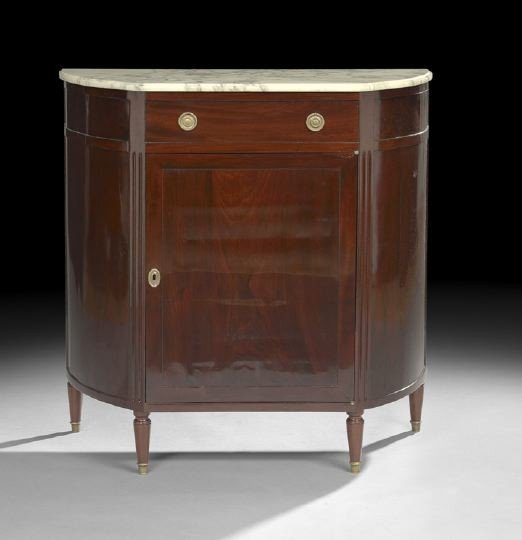 20: Louis XVI-Style Mahogany and Marble-Top Cabinet