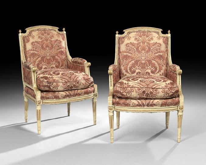 24: Pair of Louis XVI-Style Polychrome Bergeres