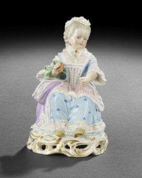 """Meissen """"Lace"""" Porcelain Figure Of A Seated Lady"""